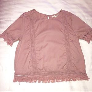 Francesca's Pink Top with Fabric Detailing